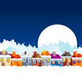Casas da vila dos desenhos animados no inverno Fotografia de Stock