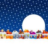 Casas da vila dos desenhos animados no inverno Fotografia de Stock Royalty Free