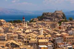 Casas da vista em Corfu, Grécia Fotografia de Stock Royalty Free