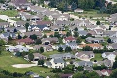 Casas da vizinhança da vista aérea, HOME, residências Fotografia de Stock Royalty Free