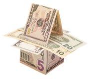 Casas das notas de banco dos dólares Fotografia de Stock Royalty Free