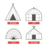 Casas de acampamento ajustadas Imagens de Stock