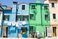 Casas de Burano Fotos de archivo