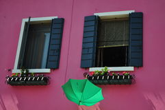 Casas de Burano Imagen de archivo