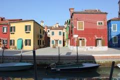Casas de Burano Venecia Italia Fotografía de archivo libre de regalías