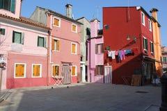 Casas de Burano Venecia Italia Fotos de archivo libres de regalías