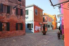 Casas de Burano Veneza Italy Foto de Stock Royalty Free