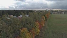 Casas de campo ao lado das árvores cobertas com a folha do outono filme