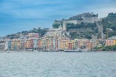 Casas de campo de Colouful de Portovenere, Liguria, Cinque Terre, Itália Fotografia de Stock Royalty Free