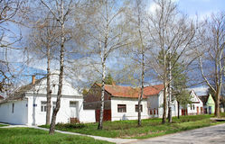 Casas de campo en primavera Imagen de archivo