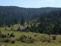 Casas de campo na floresta da montanha Fotos de Stock