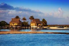 Casas de campo sobre paraíso tropical del agua reservada transparente del mar, Maldivas Imágenes de archivo libres de regalías