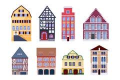 Casas de cidade velhas de Europa Ilustração isolada plano do vetor da construção Elementos do projeto da arquitetura da cidade ilustração do vetor