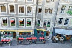 Casas de ciudad en Ginebra, Suiza Imagen de archivo libre de regalías