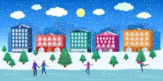 Casas de ciudad de la calle del invierno y gente, tiempo nevoso, árbol de navidad libre illustration
