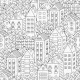 Casas de ciudad y fondo inconsútil de los árboles libre illustration