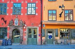 Casas de Estocolmo en cuadrado central Fotografía de archivo libre de regalías