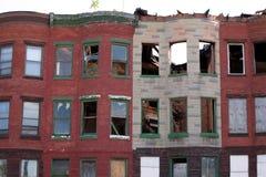 Casas de fila abandonadas Fotografía de archivo libre de regalías