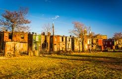 Casas de fila abandonadas en Baltimore, Maryland Fotografía de archivo