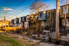 Casas de fila abandonadas en Baltimore, Maryland Foto de archivo libre de regalías