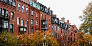 Casas de fila de Boston Fotografía de archivo libre de regalías