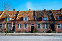 Casas de fila en Brønshøj Copenhague Fotos de archivo