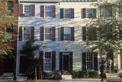 Casas de fila en Philadelphia, PA Foto de archivo