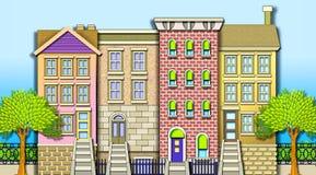 Casas de fileira da vizinhança ilustração stock
