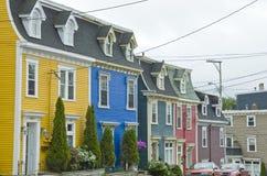 Casas de fileira do feijão de geléia, St. John foto de stock royalty free