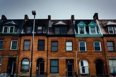 Casas de fileira em Charles North, Baltimore, Maryland fotografia de stock