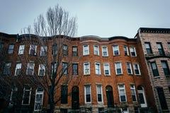 Casas de fileira em Charles North, Baltimore, Maryland fotos de stock royalty free