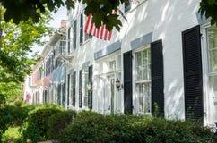 Casas de fileira históricas do tijolo em Genebra, NY Foto de Stock Royalty Free