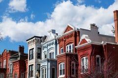 Casas de fileira no Washington DC Fotografia de Stock