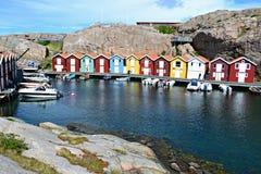 Casas de Fishermens en Suecia Fotos de archivo
