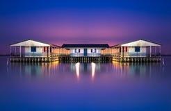 Casas de flutuação de Missolonghi Fotografia de Stock Royalty Free