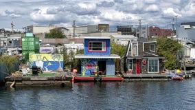 Casas de flutuação famosas no lago Washington, Seattle, Washington, EUA fotos de stock royalty free