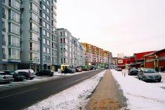 Casas de la ciudad de Vilna en la ciudad de Nord del distrito de Zirmunai Fotografía de archivo