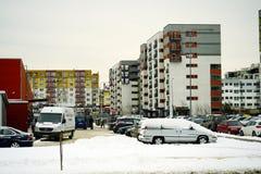 Casas de la ciudad de Vilna en la ciudad de Nord del distrito de Zirmunai Foto de archivo libre de regalías