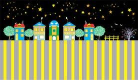 Casas de la ciudad divertida Foto de archivo libre de regalías