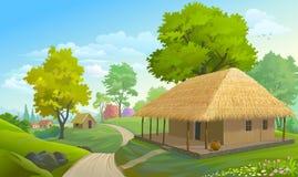 Casas de la granja a lo largo de una calle estrecha ilustración del vector