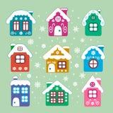 Casas de la Navidad del vector fijadas Fotos de archivo libres de regalías