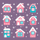 Casas de la Navidad del vector fijadas Imágenes de archivo libres de regalías