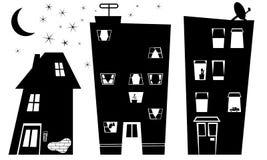 Casas de la noche Fotografía de archivo libre de regalías