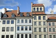 Casas de la plaza del mercado de Varsovia fotos de archivo libres de regalías