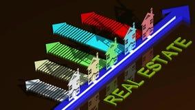 Casas de las propiedades inmobiliarias?, planos para la venta o para el alquiler stock de ilustración