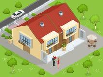 Casas de las propiedades inmobiliarias?, planos para la venta o para el alquiler Casa de lujo por encargo grande con el jardín ag libre illustration