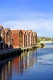 Casas de los pescadores (Hudiksvall) Imagen de archivo libre de regalías