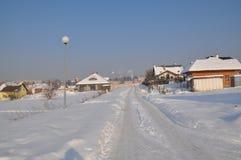 Casas de lujo en invierno foto de archivo