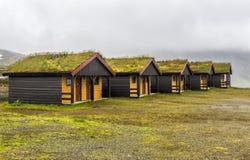 Casas de madeira com grama nela telhados do ` s fotografia de stock
