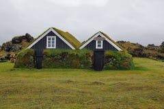Casas de madeira de Hellissandur foto de stock